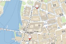 """You are right in the city center! But If you want to use a public transport, It takes about 3 minutes by walk to the tram stop """"Karlovy Lázně""""  or 8 minutes to the subway station """"Staroměstská""""."""