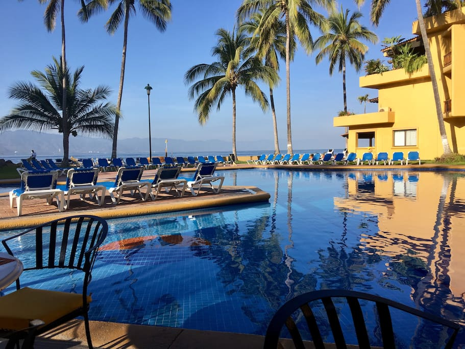 Main pool by condo with cafe and bar There are seven pools on the property.