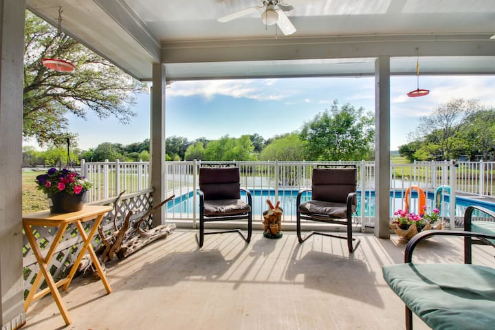Lakefront and dog-friendly home w/ private pool and incredible bass fishing!