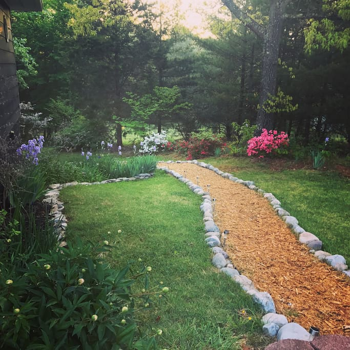 The path in early May, spring and summer is the best time to see the yard! Iris', azaleas, and soon peonies. Lush and green!