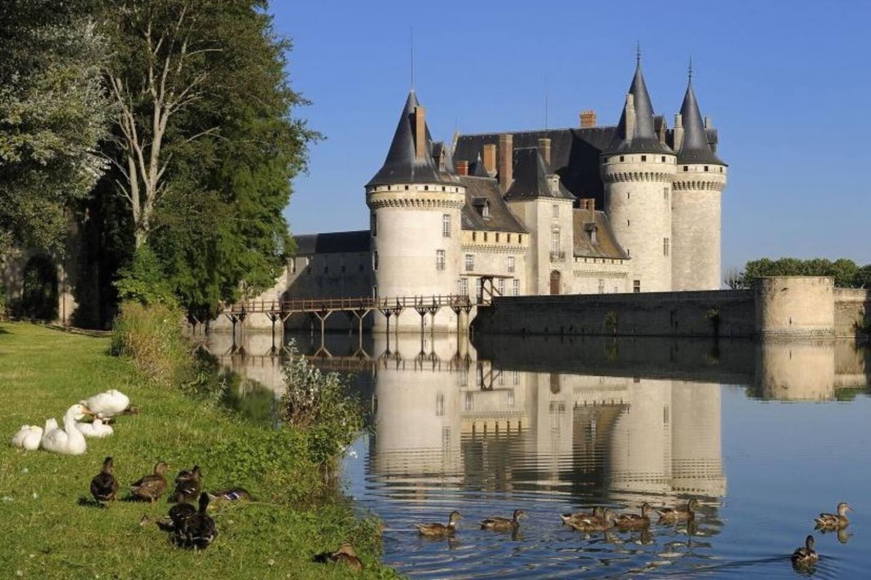 Le Château de Sully sur Loire au bord de la Sange, l'appartement se situe juste sur la rive gauche par rapport à la photo.