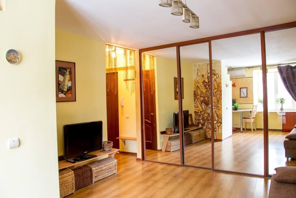 Дизайн квартиры разработан так , что визуально расширить пространство за счёт зеркальной поверхности и для этого была отдана целая стена под гардеробную.