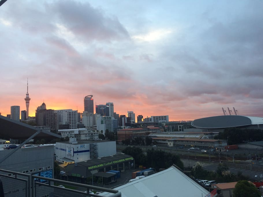 Sunset over Auckland city from the balcony