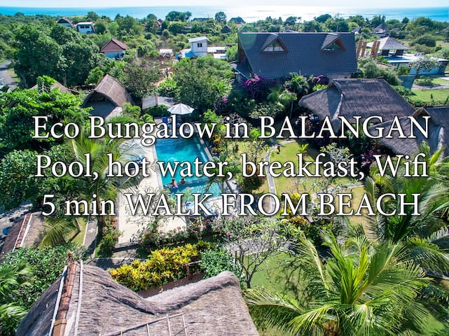 QUIET BUNGALOW - 5min to beach, wifi, pool, bfst A - Sul de Kuta
