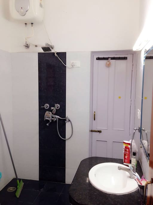 Fully equipped and clean bathroom with shower and geyser