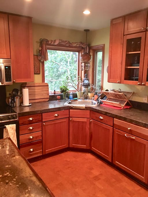 Spacious and well equipped kitchen overlooking lake
