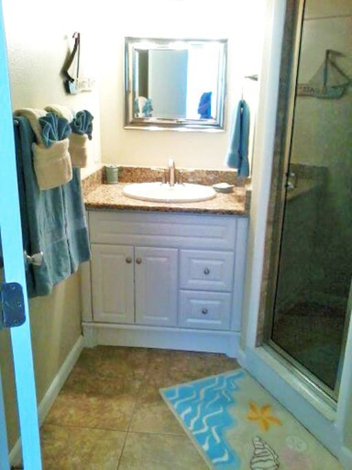 Fully renovated bath with granite counters and walk in shower