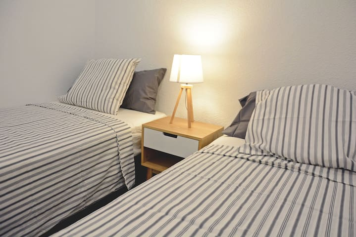 There is second small bedroom which sleeps one or two persons. In case there is only one person sleeping we fold the 2nd bed below the other