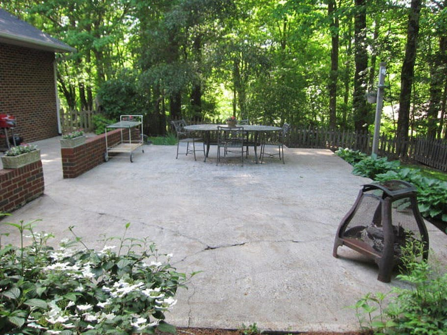 Patio for guest use includes table, chairs, fire pit.