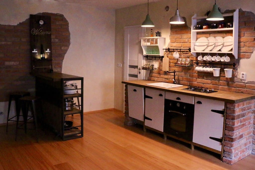 Bar, kitchen and store room