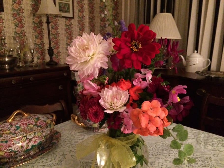 Flowers from my garden on the table.  I like to set a nice table presentation.
