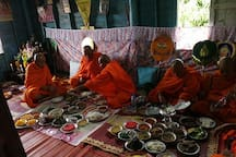 Food offering to the monks
