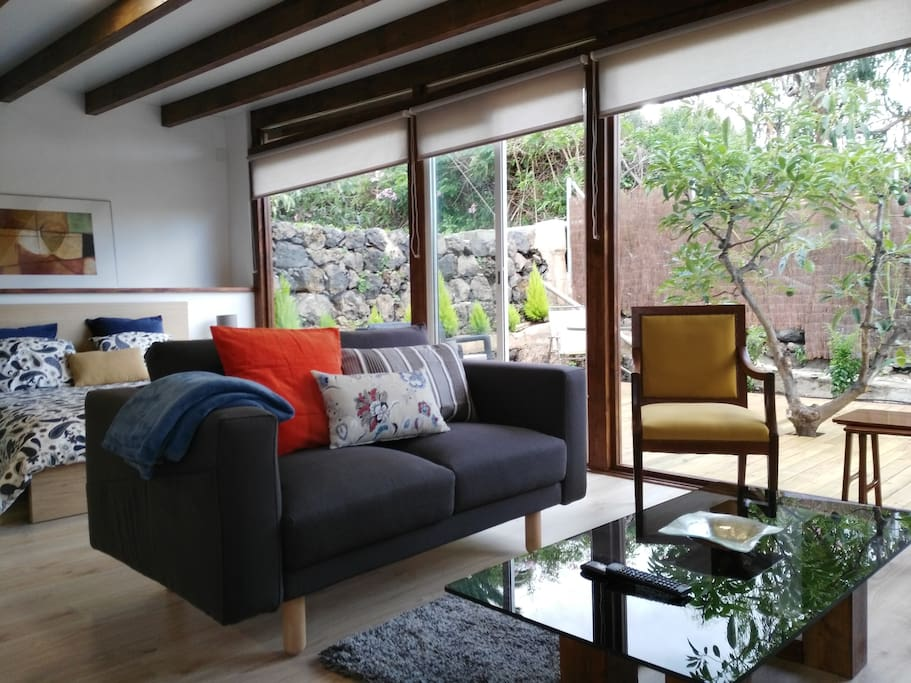 A nice living room open to the terrace
