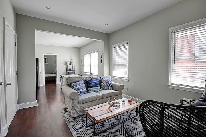 Living room features super comfortable furniture, HDTV with cable, high speed internet, and more!