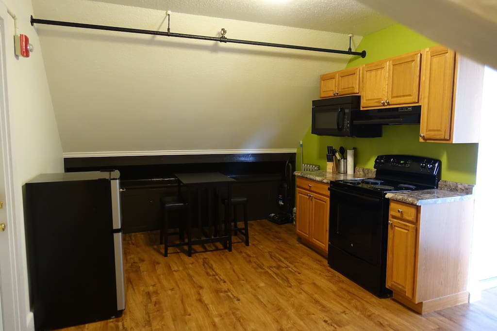 Semi-private kitchen shared with just one other guestroom.