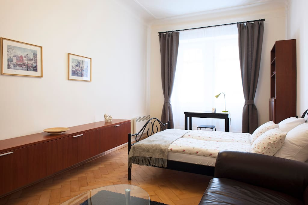 Living and sleeping room interior.