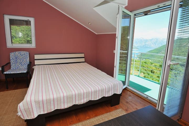Room 1 with a panorama view on the Kotor Bay
