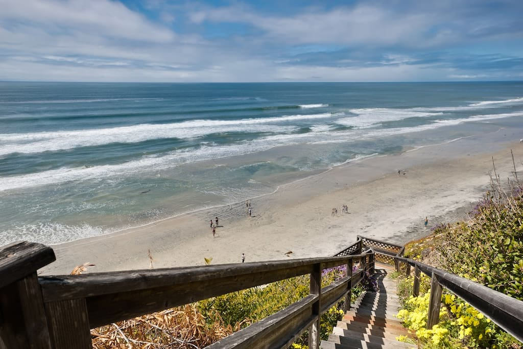 Private Stairs to Moonlight Beach