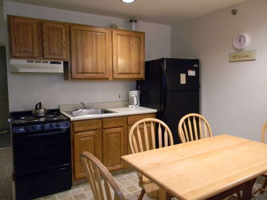 Fully equipped kitchen with everything you'll need, coffee maker microwave pots & pans, toaster etc..