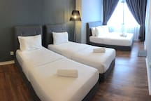 Double bed and twin bedded room