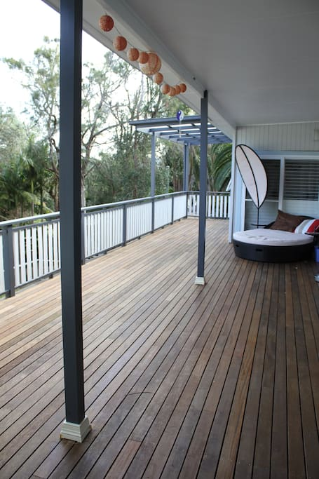 The deck off the other side of the 2nd living area & bar
