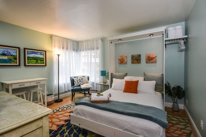 A second bedroom offers a Murphy bed that can fold up into the wall for extra floor space during the day. Both bedrooms are equipped with room-darkening shades.