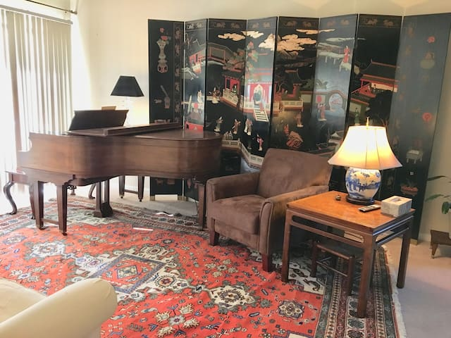 Living room that provides access to covered terrace for your use...and the piano for you if you play!