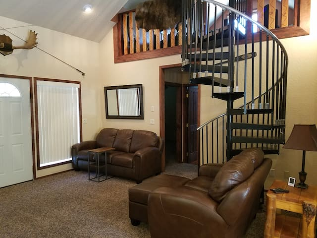 Stairs and upstairs loft is for host only. Motion sensor security camera at top of stairs facing into loft area.