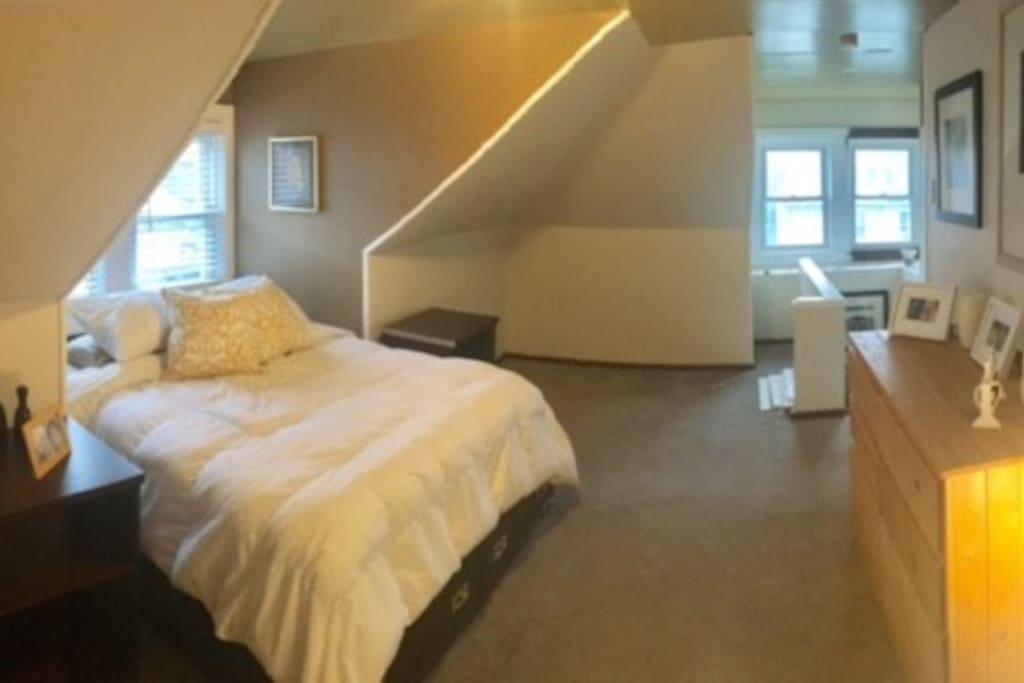 Attic room with super cozy bed