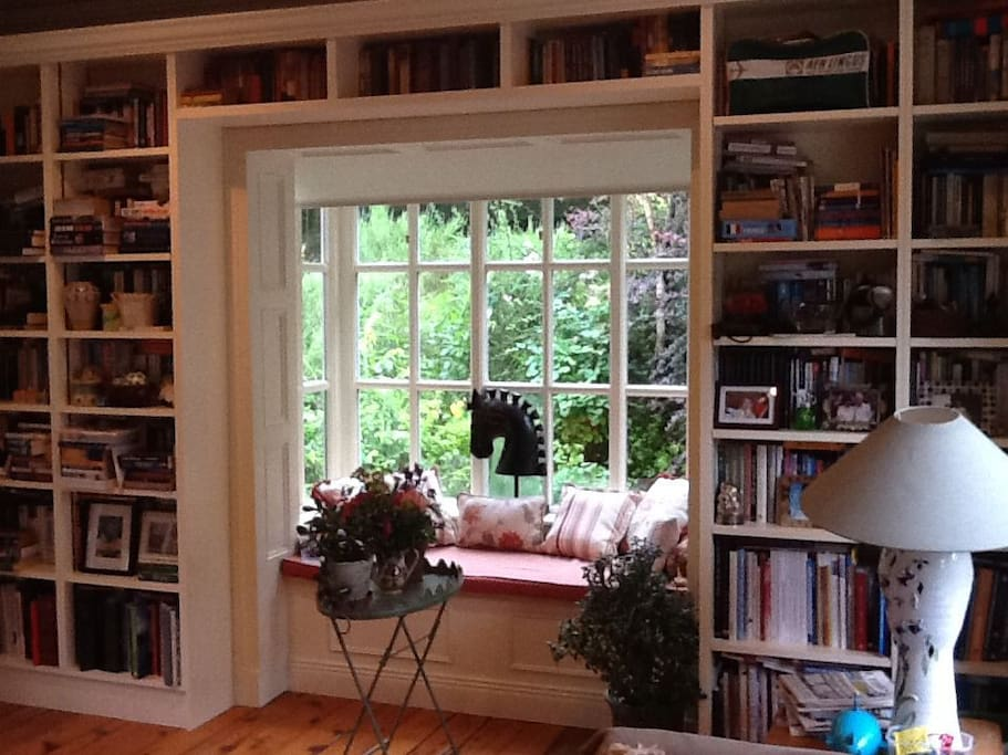 Living room and library