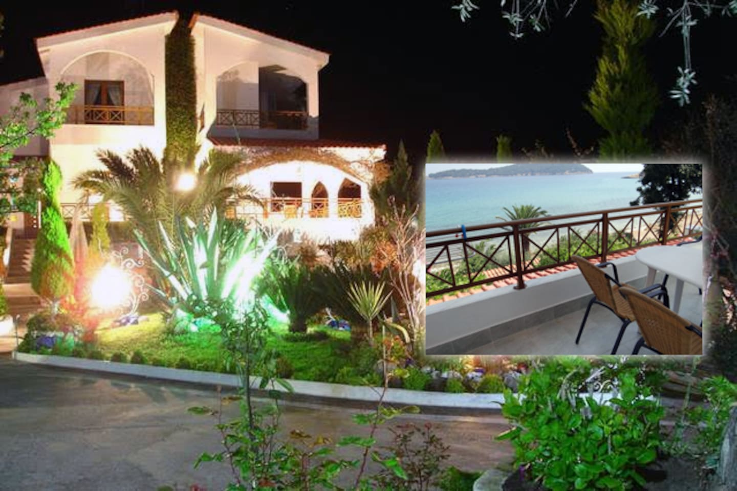 Villa Frosso garden by night and Apartment 3 sea view balcony