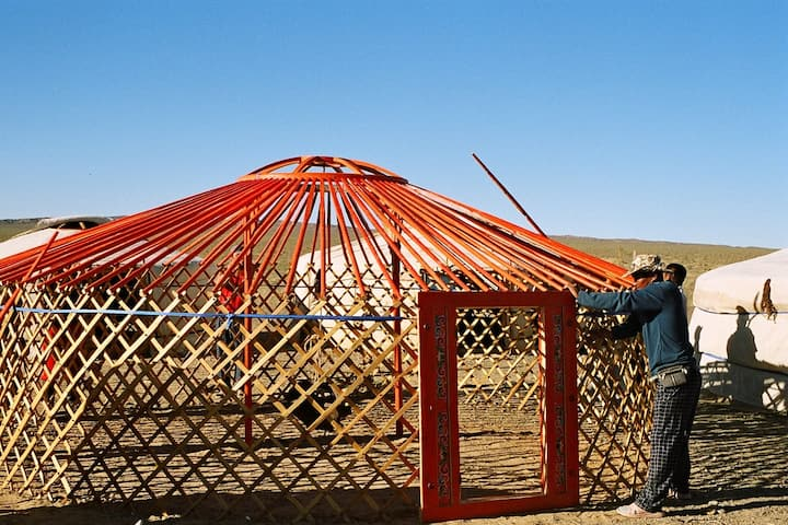 Assemble a yurt and try local foods