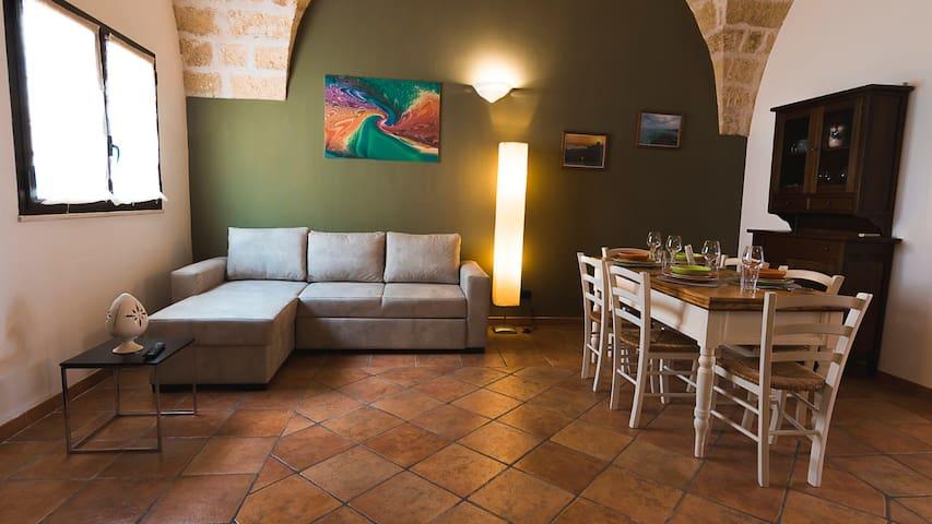 ampio salone con tavolo per il pranzo/cena con il divano letto matrimoniale, la TV a schermo piatto e il camino
