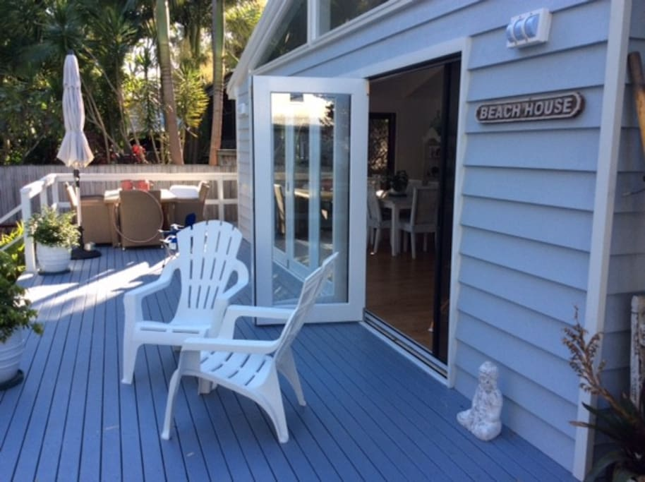 fantastic wrap around deck and eating area.