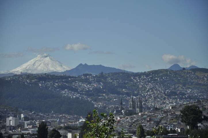 Beautiful view of Quito and mountains