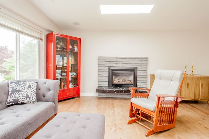 Gas fireplace for cool days