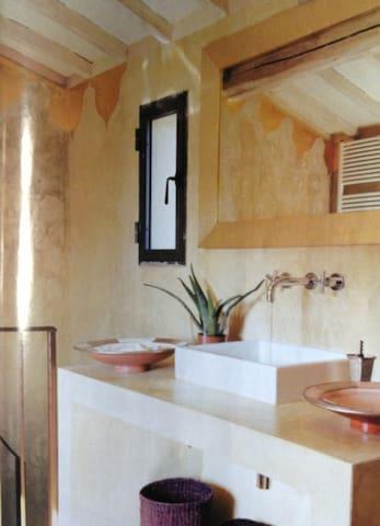 Up Stairs bathroom with panoramic bath tub