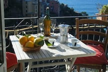 the balcony and his beautiful view;  is perfect to eat outside on the balcony for two/three persons