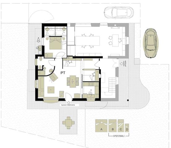 Appartamento con giardino a  3,7 km  dal mare