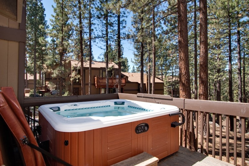 two private hot tubs on exterior decks