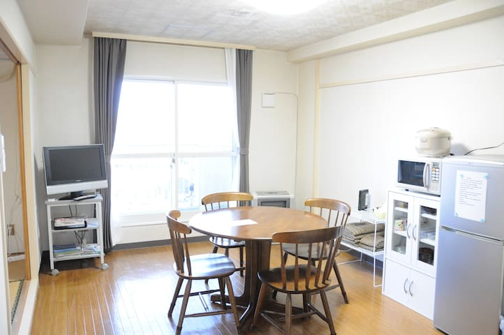 5mins walk to Asahikawa Station. Bright 50㎡ room - Asahikawa