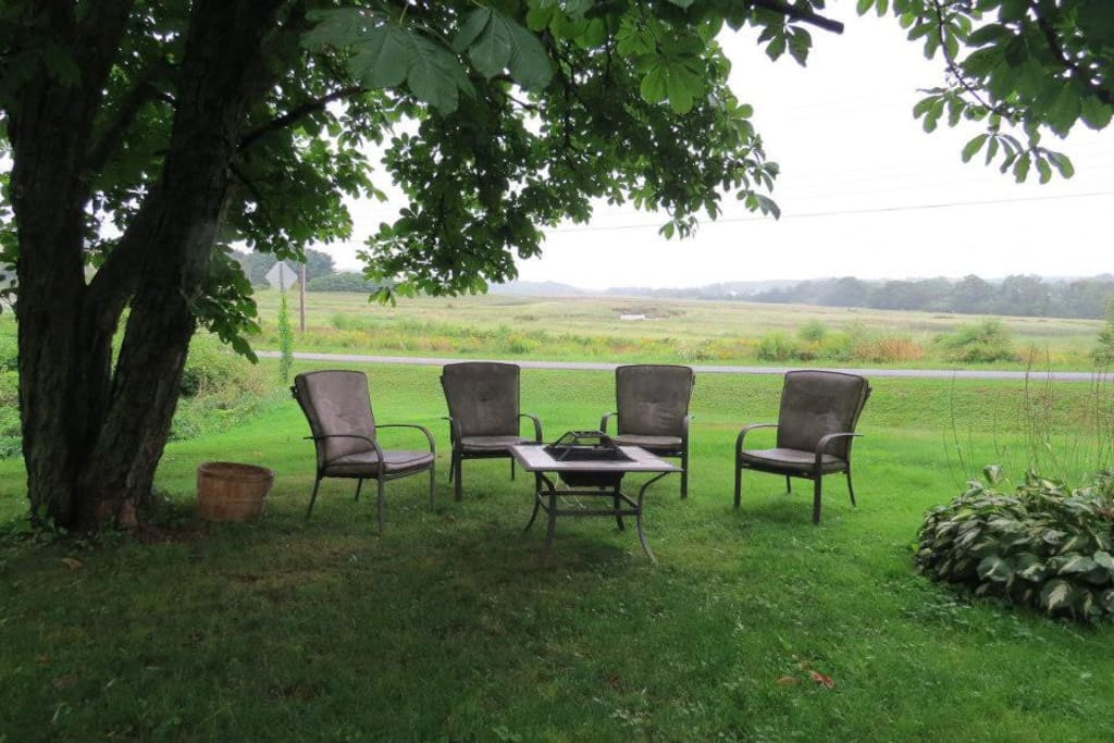 Fire table, view of the Gaspereau River