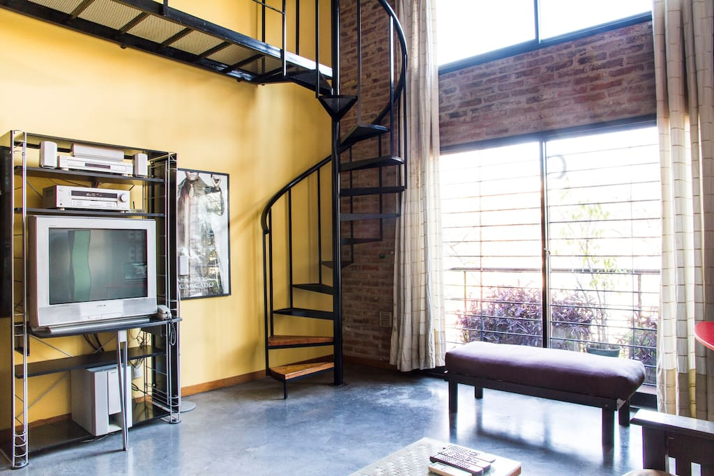 Spiral stairs takes you to bedroom