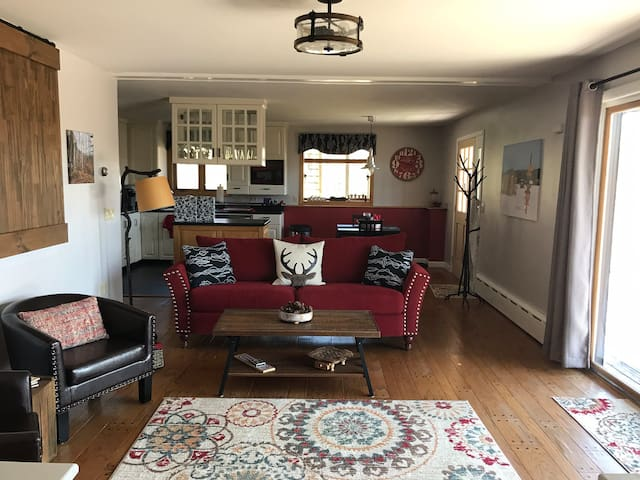 Spacious rustic chic open concept living room area with leather chairs, reclaimed wood hand crafted doors, full kitchen, local artisan decor and more...