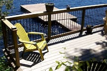 A beautiful sunny day on our lakeside deck and dock.
