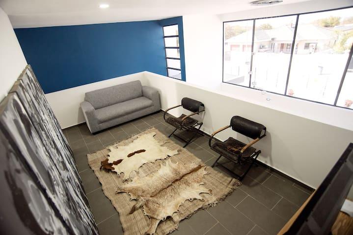 upstairs entertainment area
