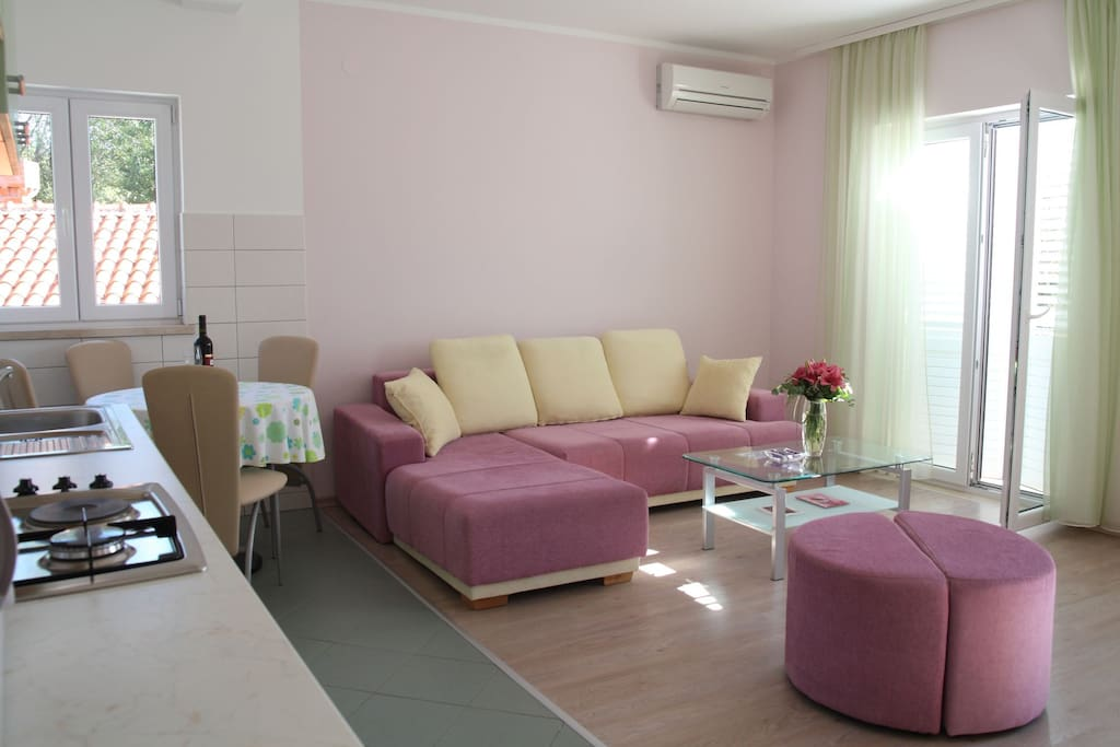 living room with sofa bed ( air conditioned)