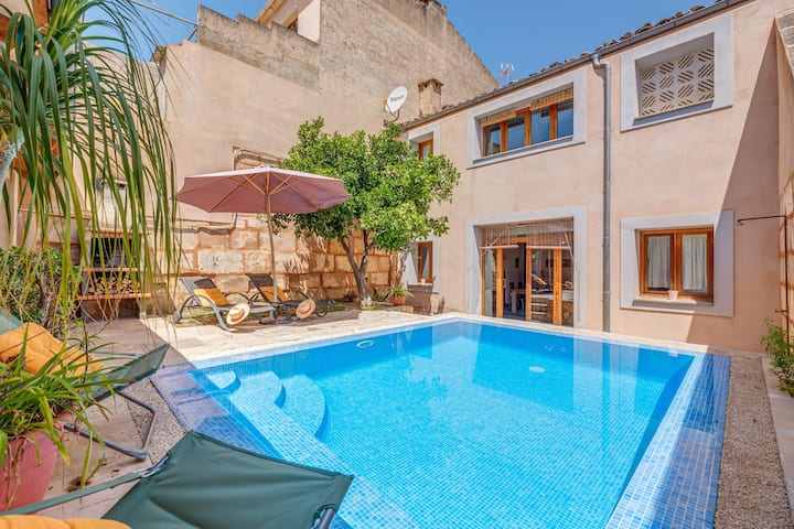Beautiful Holiday Home Can Vall with Pool, Air Conditioning, Wi-Fi, Balcony & Terraces; Parking Available