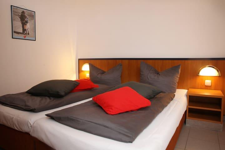 Schlaf- und Wohnbereich getrennt durch Raumteiler