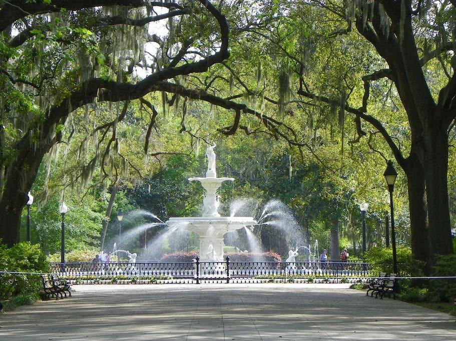 Forsyth Park Fountain  Across the Street